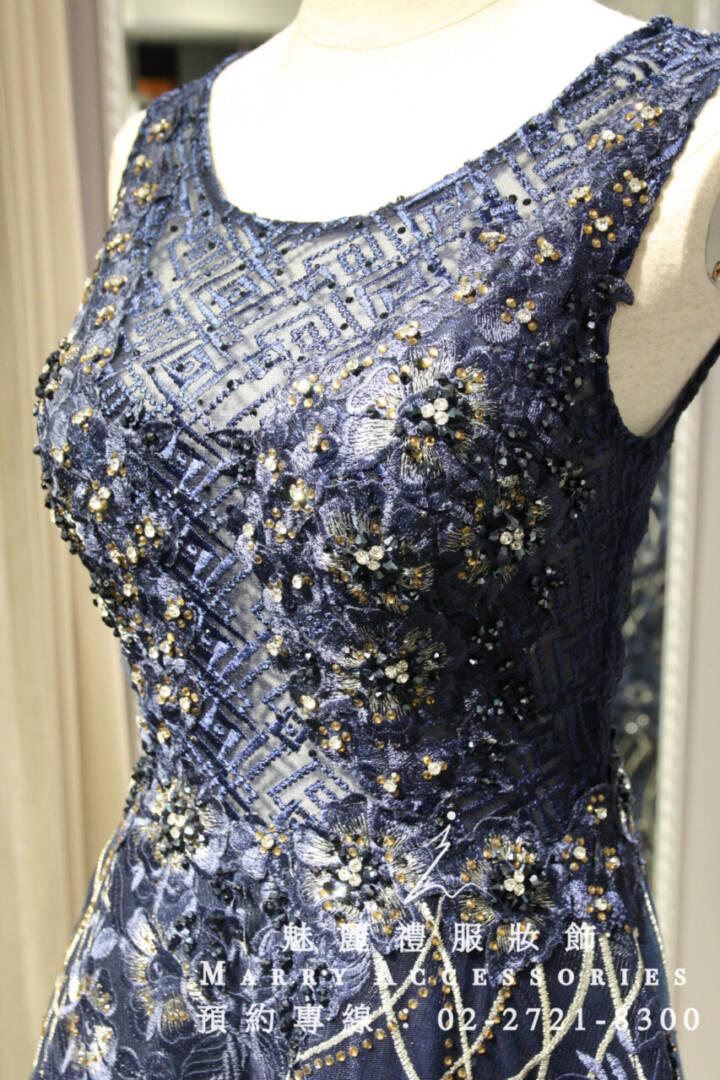 M19深紫色圓領藝術風貴氣禮服-媽媽禮服-晚宴禮服-新娘晚禮服