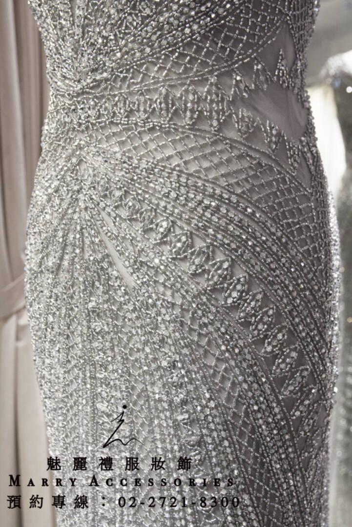M23系列銀色珠鑽線條V領女神系禮服-媽媽禮服-晚宴禮服-新娘晚禮服