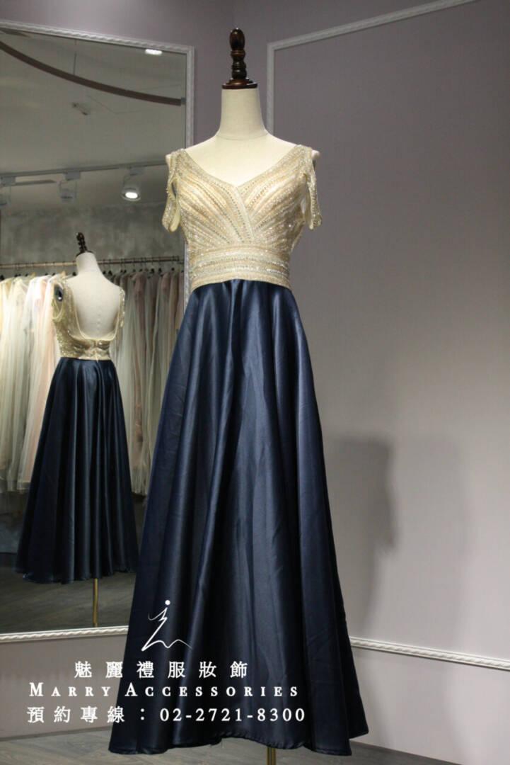 M25系列雙色對比深藍緞面裙襬禮服-媽媽禮服-晚宴禮服-新娘晚禮服