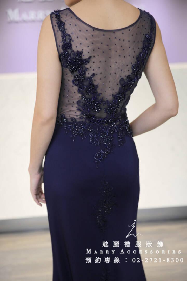M27系列修飾小腹深藍色禮服-媽媽禮服-晚宴禮服-新娘晚禮服