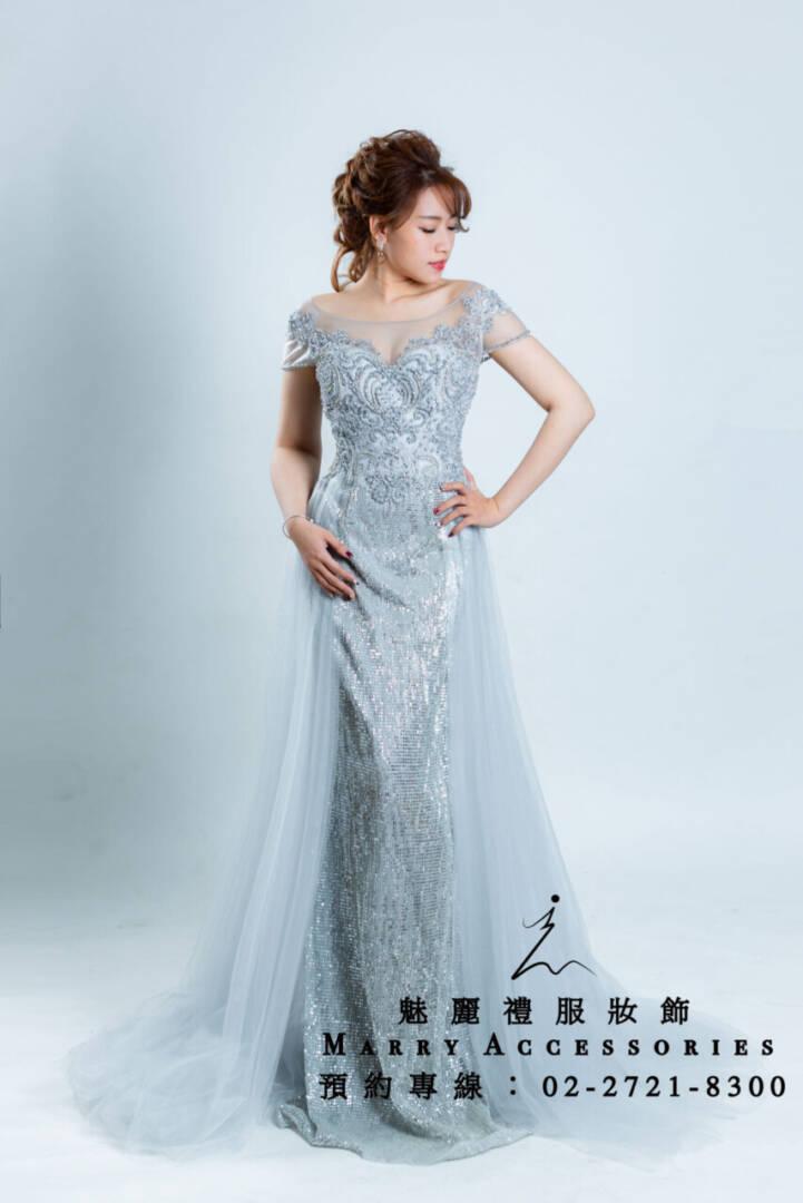 M32系列銀白魚尾雙側紗華麗媽媽禮服-晚宴禮服-新娘晚禮服
