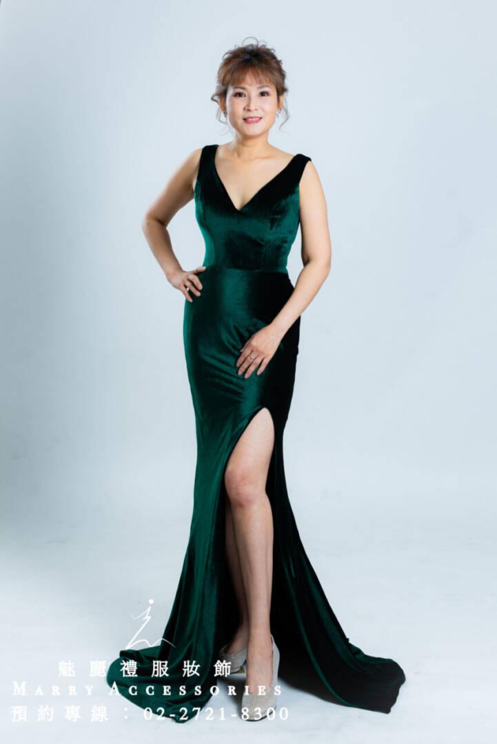 M33系列超有質感V領綠色長禮服 媽媽禮服-晚宴禮服-新娘晚禮服
