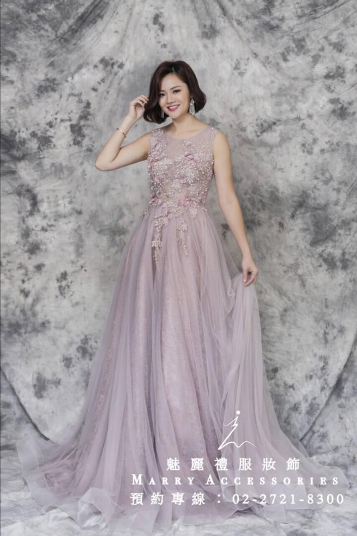 M34系列優雅粉紗高貴典雅媽媽禮服-晚宴禮服-新娘晚禮服