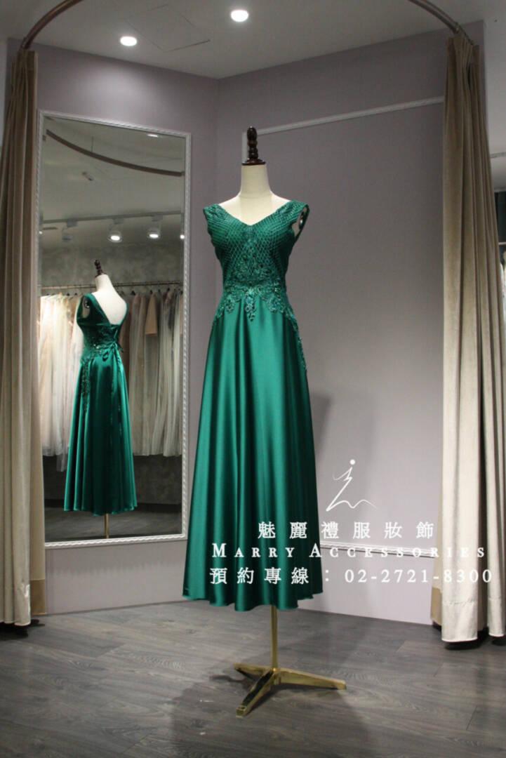 M36系列V領低調奢華風大裙襬媽媽禮服-晚宴禮服-新娘晚禮服