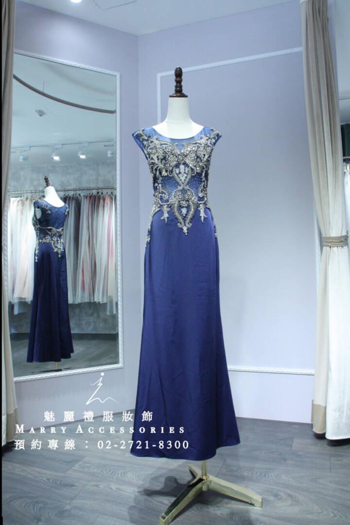 M38系列神秘貴氣海洋風格媽媽禮服-晚宴禮服-新娘晚禮服