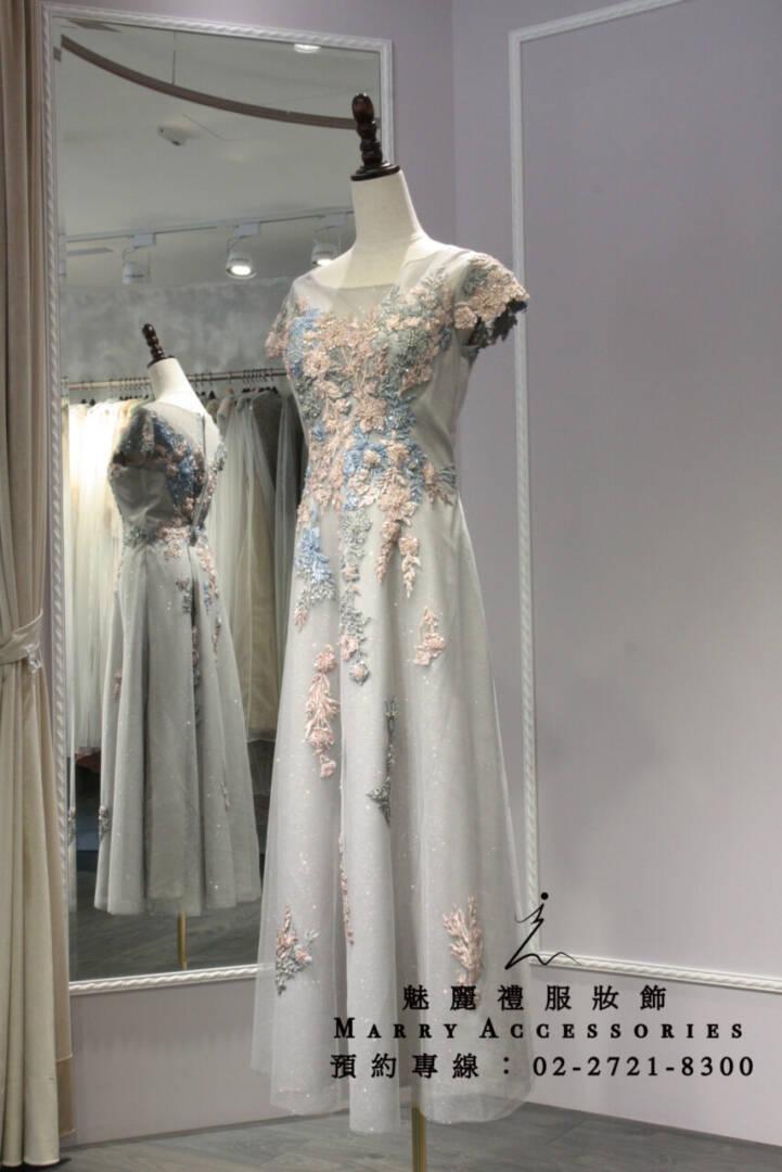 M4系列修身蕾絲珠工A字型典雅禮服-媽媽禮服-晚宴禮服-新娘晚禮服