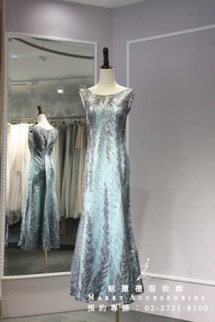 M40系列銀亮片蒂芬妮背心剪裁修身禮服-媽媽禮服-晚宴禮服-新娘晚禮服