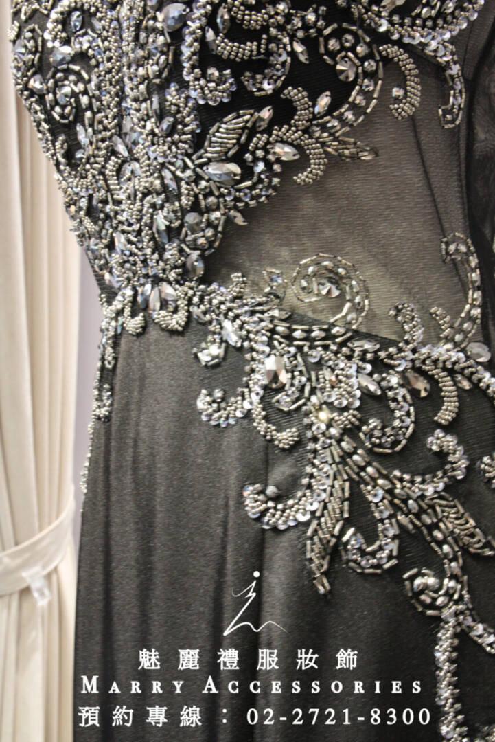 M41系列有質感小包袖立體銀色媽媽禮服-晚宴禮服-新娘晚禮服