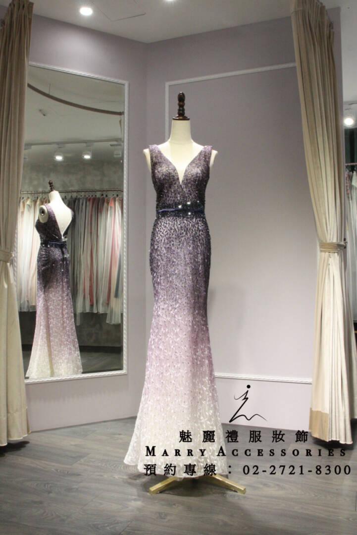 M43系列超美漸層紫色魚尾禮服-媽媽禮服-晚宴禮服-新娘晚禮服