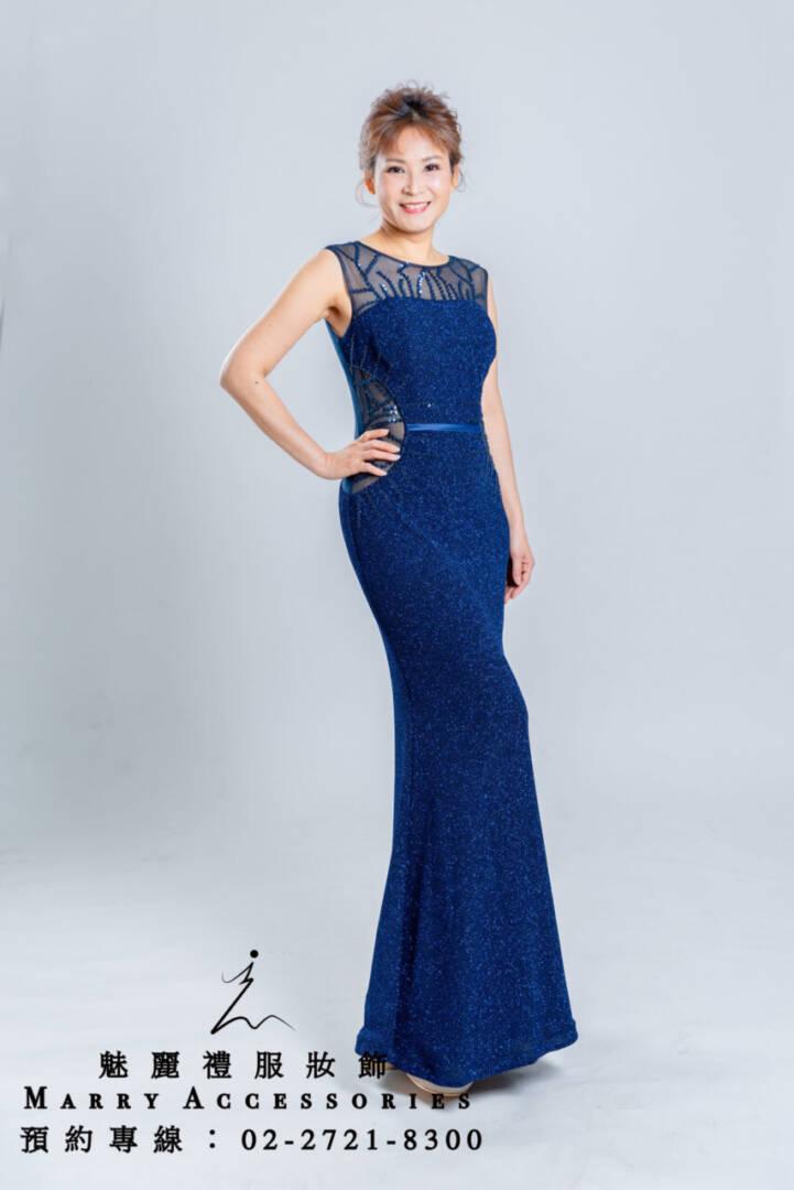 M45系列藍色魚尾性感大露背禮服-媽媽禮服-晚宴禮服-新娘晚禮服