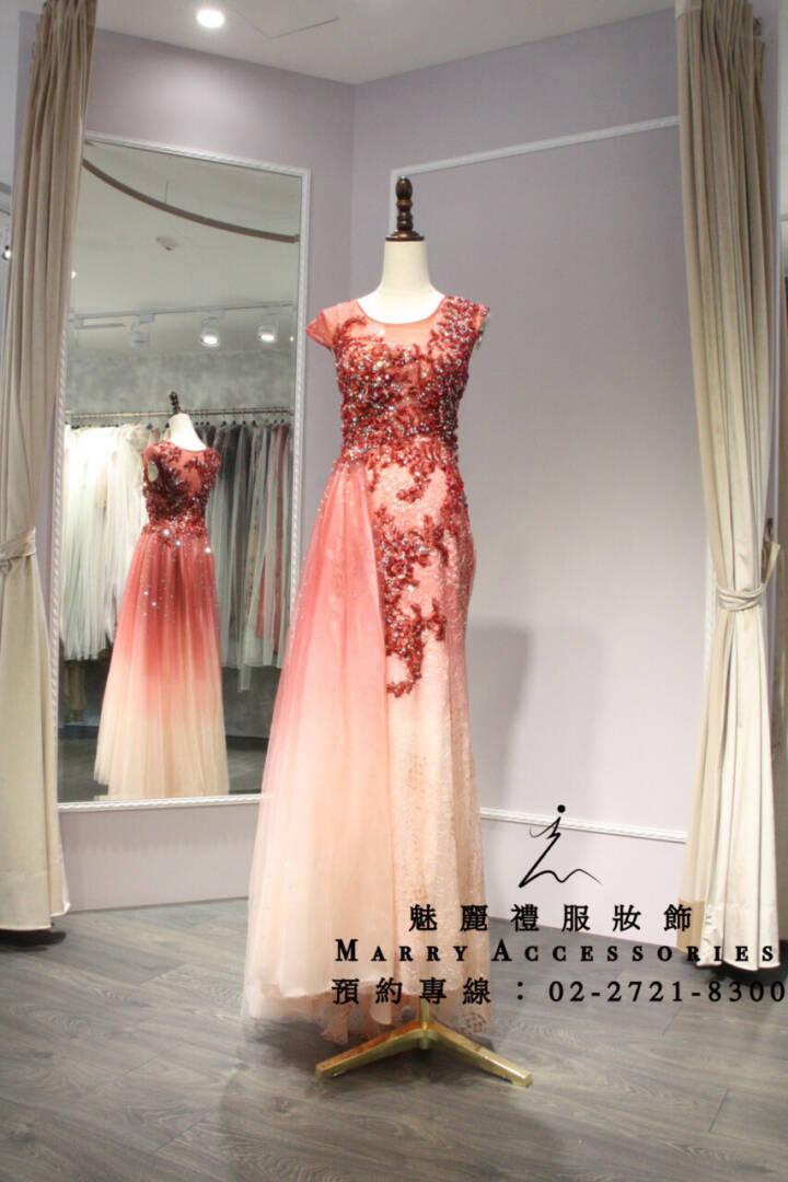 M47系列紅色單側飄紗夢幻禮服-媽媽禮服-晚宴禮服-新娘晚禮服