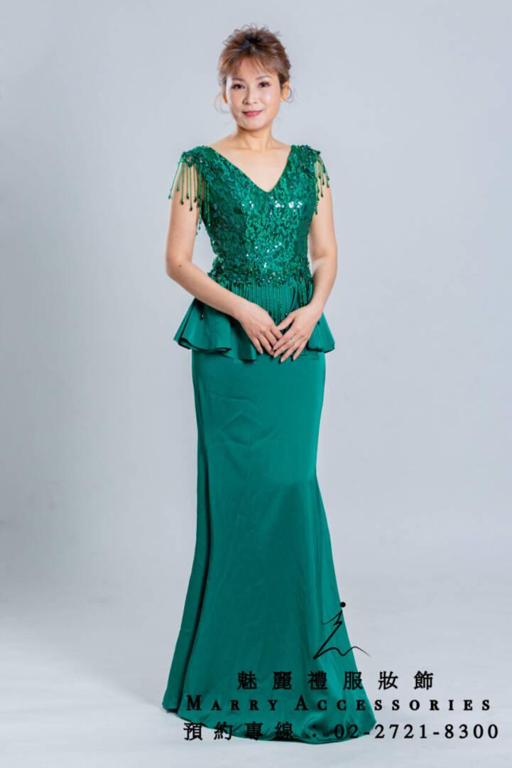 M48系列修飾小腹高貴典雅綠色長禮服-媽媽禮服-晚宴禮服-新娘晚禮服