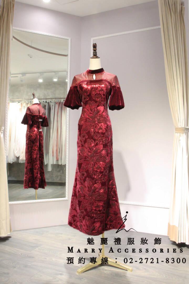 M51系列貴氣高雅絨材質超美亮片花紅色禮服-媽媽禮服-晚宴禮服-新娘晚禮服