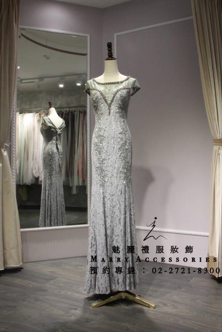 M56系列小包袖V剪裁修身灰色禮服-媽媽禮服-晚宴禮服-新娘晚禮服
