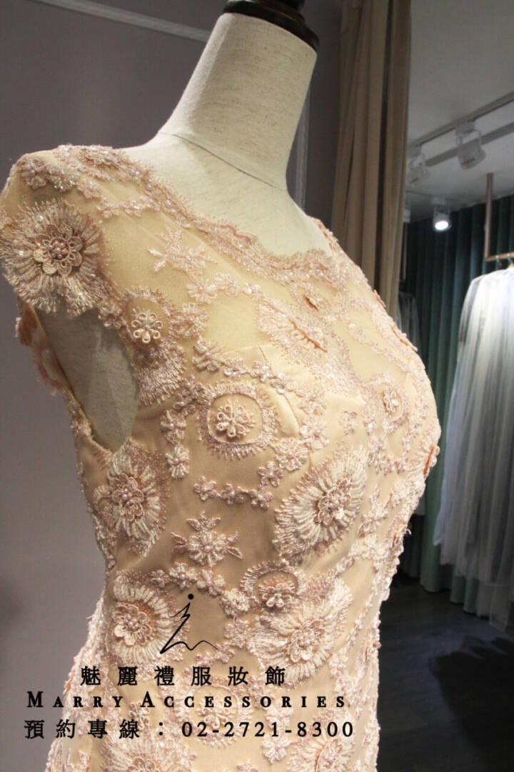 M57系列立體花設計層次裙襬粉色禮服-媽媽禮服-晚宴禮服-新娘晚禮服