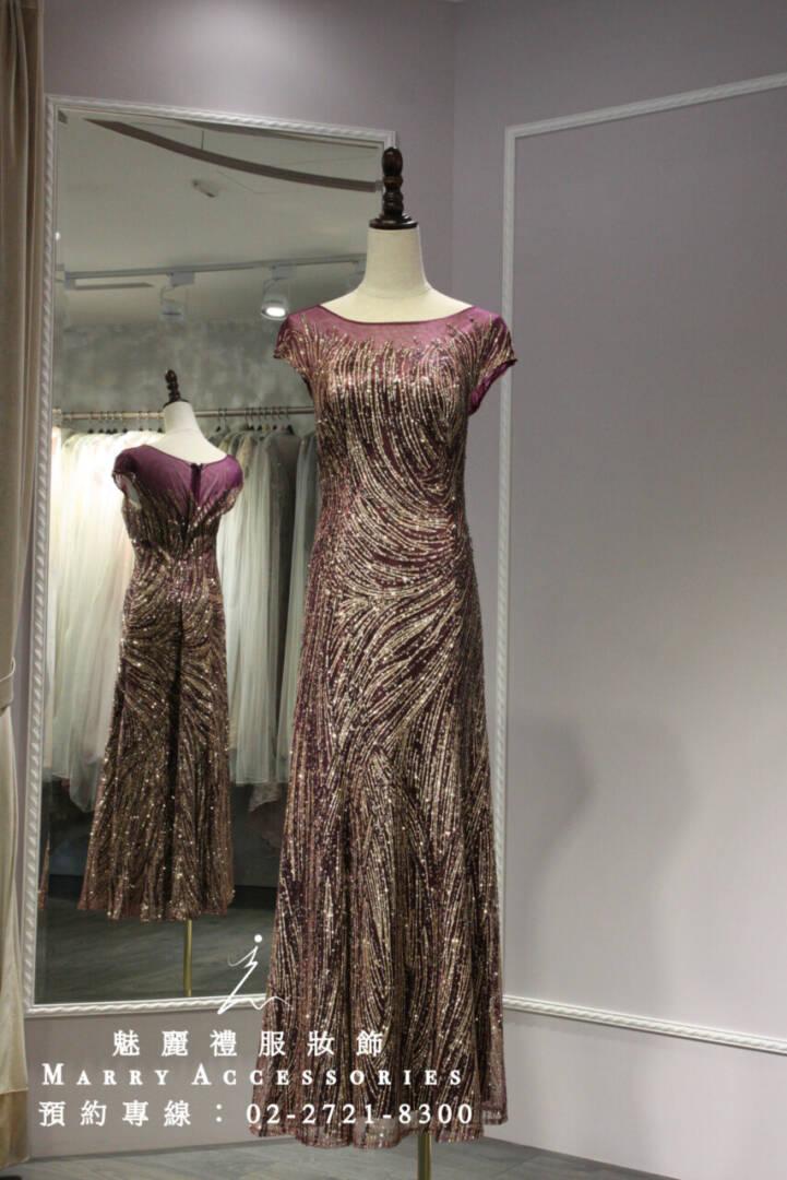 M59系列貴氣紫色紗與金色線條媽媽禮服-晚宴禮服-新娘晚禮服