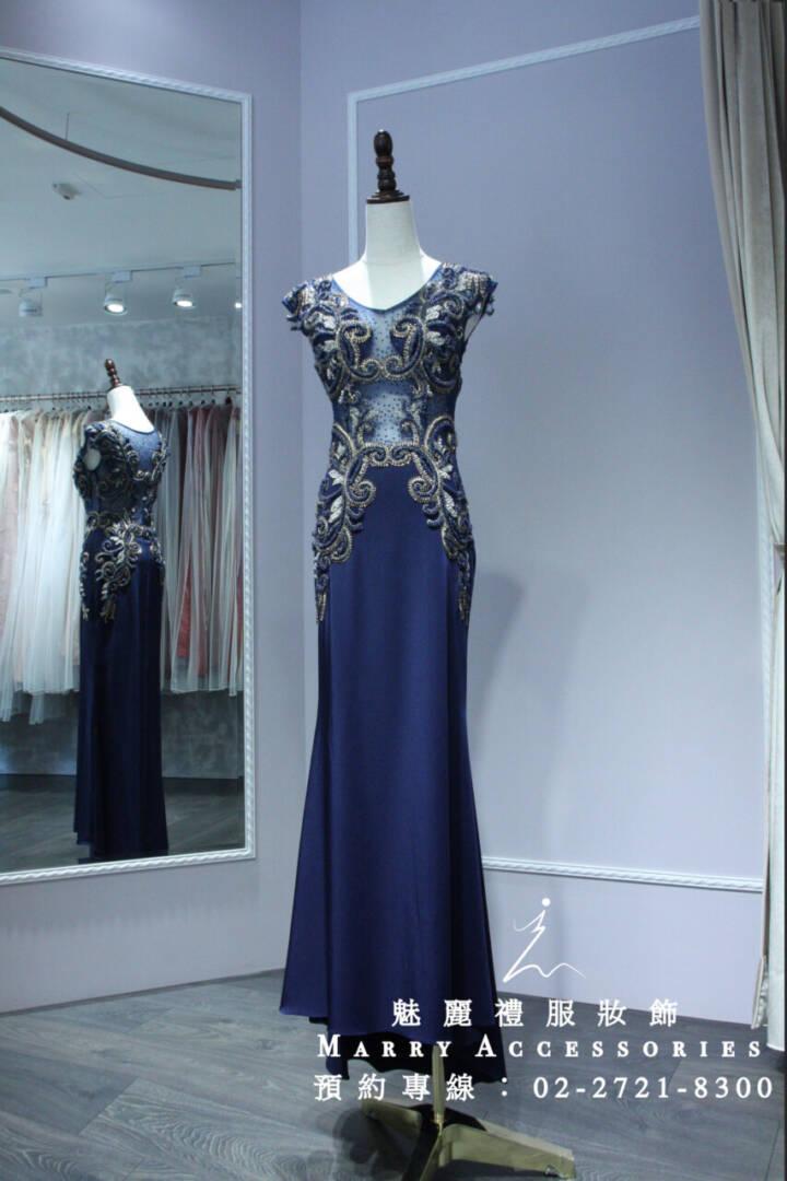 M6系列鏤空精緻雕繡深藍超修身魚尾媽媽禮服-晚宴禮服-新娘晚禮服