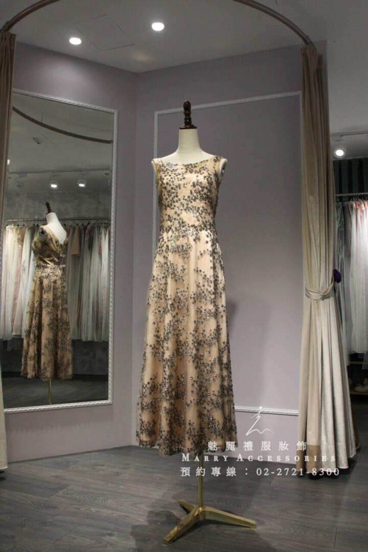 M61系列金底梅花設計貴氣典雅禮服-媽媽禮服-晚宴禮服-新娘晚禮服
