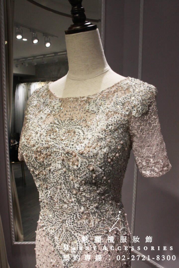 M62系列雅緻立體刺繡粉色禮服-媽媽禮服-晚宴禮服-新娘晚禮服