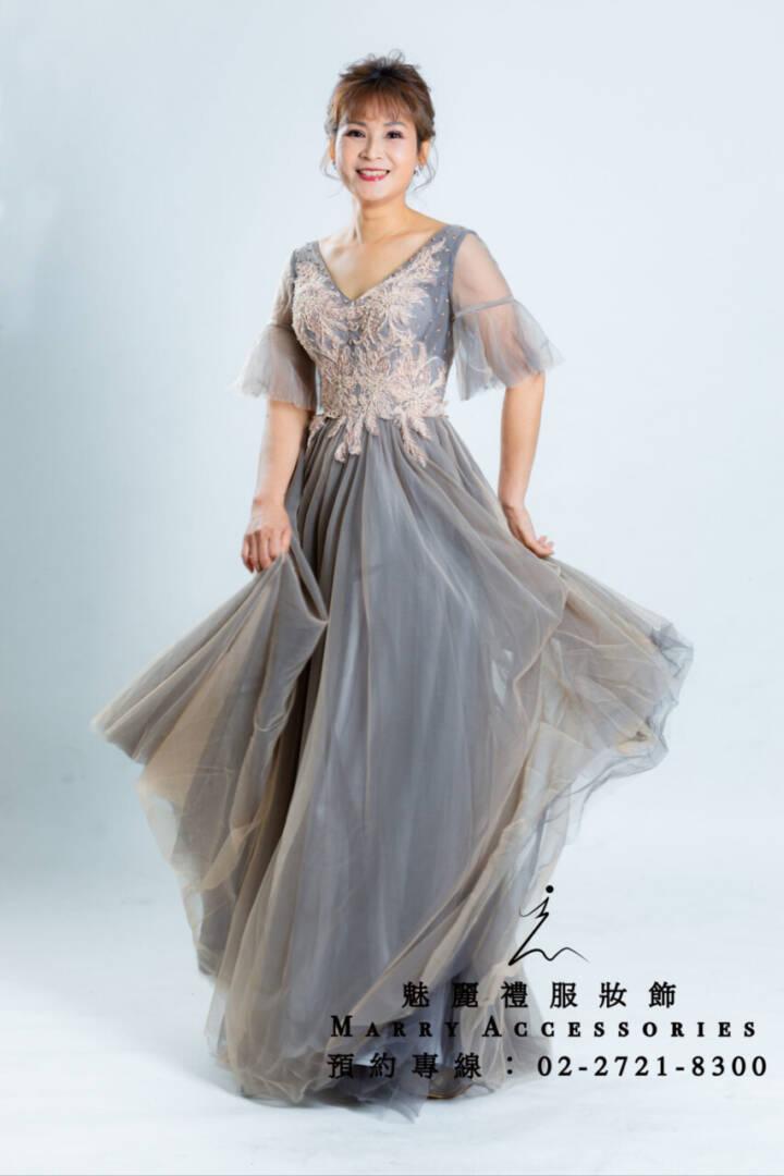 M63系列雙套色軟紗微蓬顯年輕禮服-媽媽禮服-晚宴禮服-新娘晚禮服