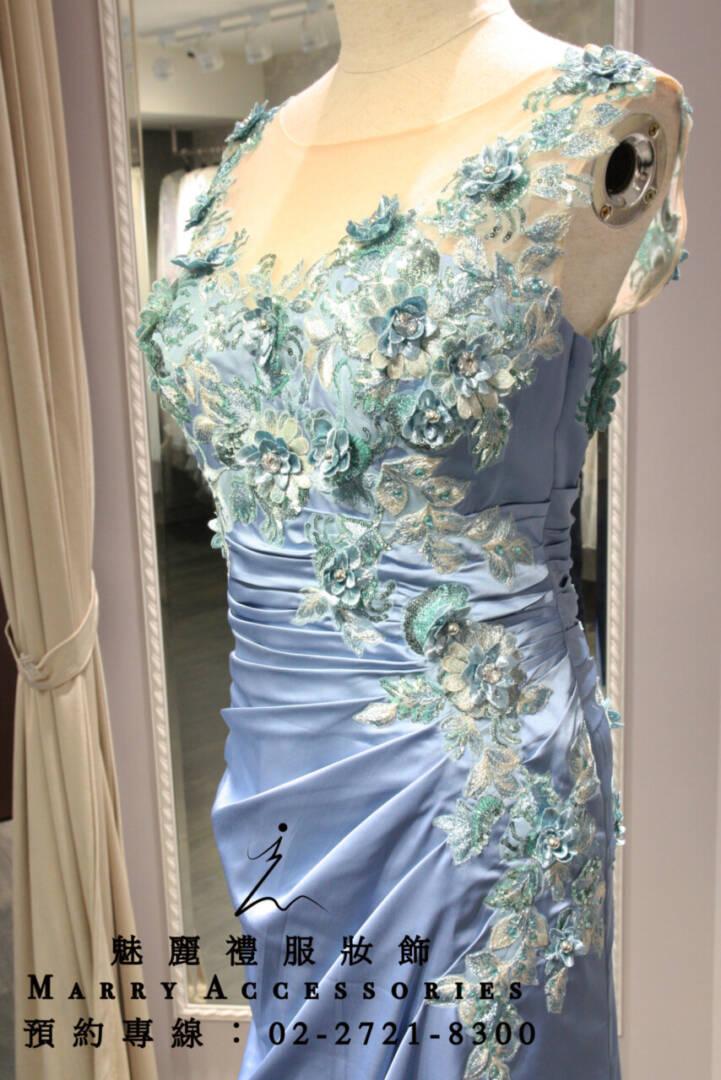 M64系列高貴雅典式修身藍色緞面媽媽禮服-晚宴禮服-新娘晚禮服