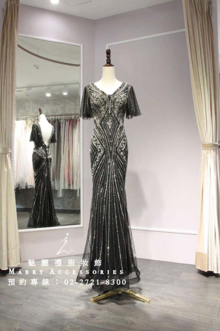 M66時尚華美菱形元素修身深色魚尾禮服-媽媽禮服-晚宴禮服-新娘晚禮服