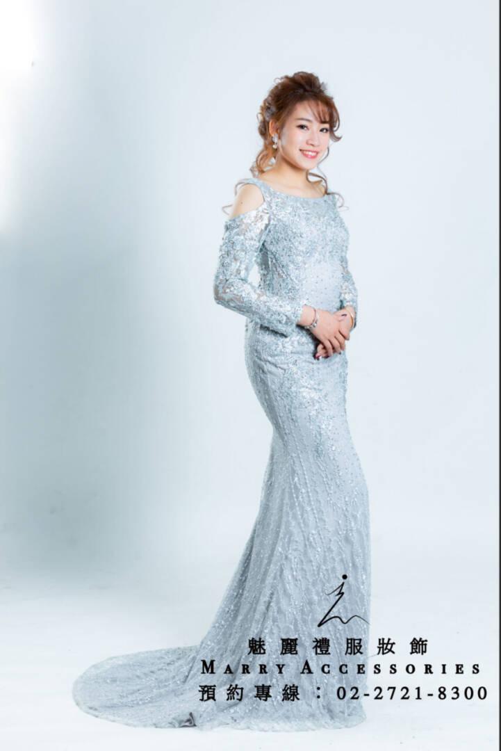 M7系列銀色露肩小性感高貴禮服-媽媽禮服-晚宴禮服-新娘晚禮服