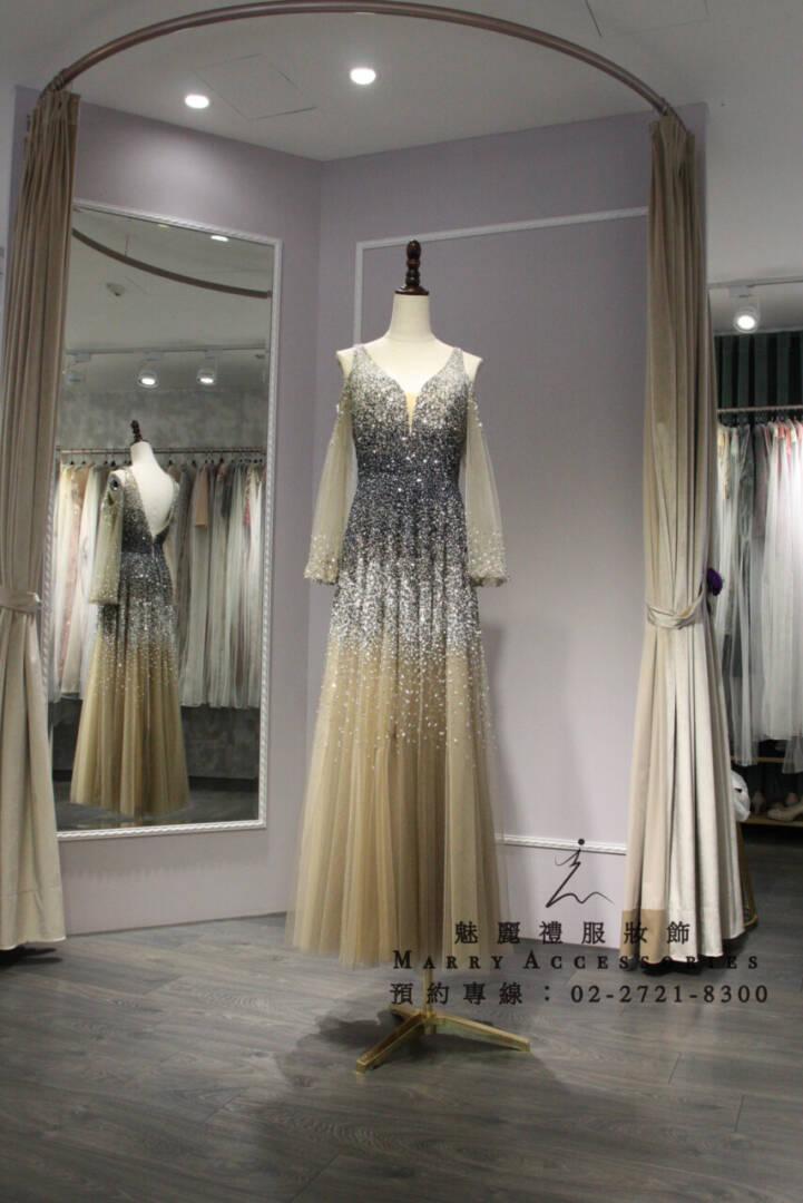 M70系列V領露肩有袖銀膚漸層禮服-媽媽禮服-晚宴禮服-新娘晚禮服