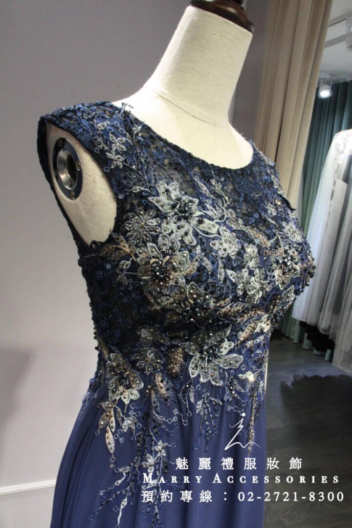M71系列深藍小包袖立體亮片花雪紡禮服-媽媽禮服-晚宴禮服-新娘晚禮服