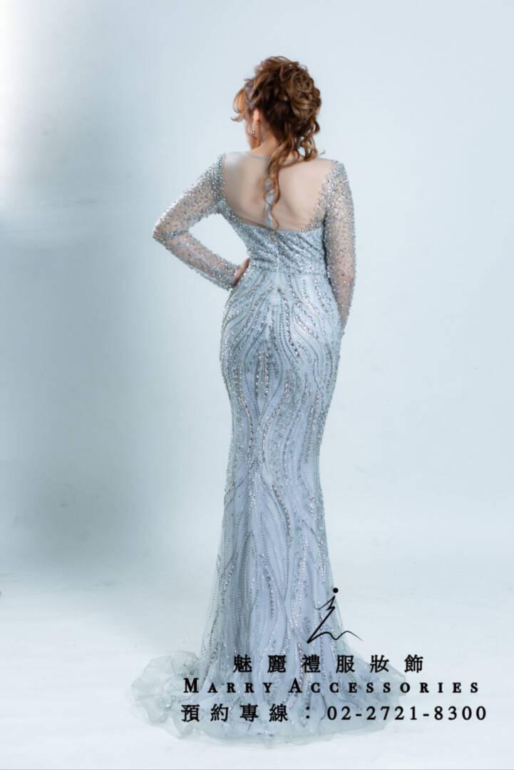 M72系列透紗鑽飾長袖魚尾銀白女神系禮服-媽媽禮服-晚宴禮服-新娘晚禮服