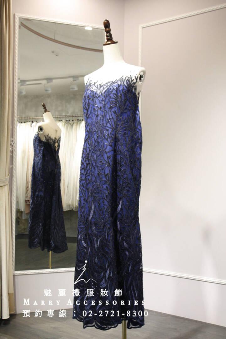 M75系列深藍珊瑚海洋魚尾超修身大尺碼媽媽禮服-晚宴禮服-新娘晚禮服