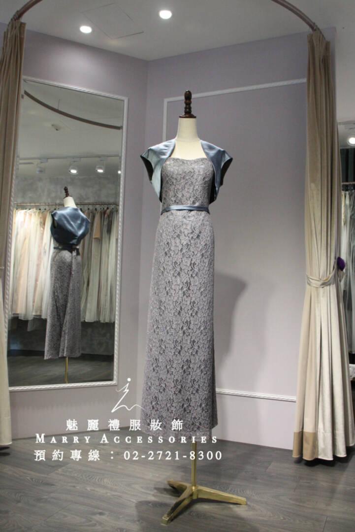 M91系列典雅素美有質感灰色蕾絲禮服-媽媽禮服-晚宴禮服-新娘晚禮服