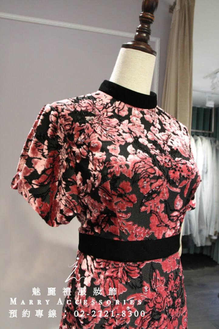 M96系列高級時尚絨布花朵設計短禮服-媽媽禮服-晚宴禮服-新娘晚禮服