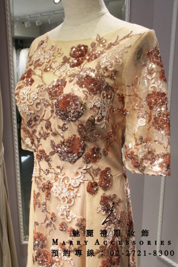 M97系列粉橘亮片花5分袖禮服-媽媽禮服-晚宴禮服-新娘晚禮服