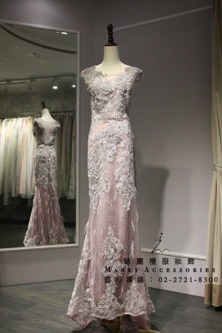M98系列時尚華麗立體羽毛拖尾粉色時尚禮服-媽媽禮服-晚宴禮服-新娘晚禮服