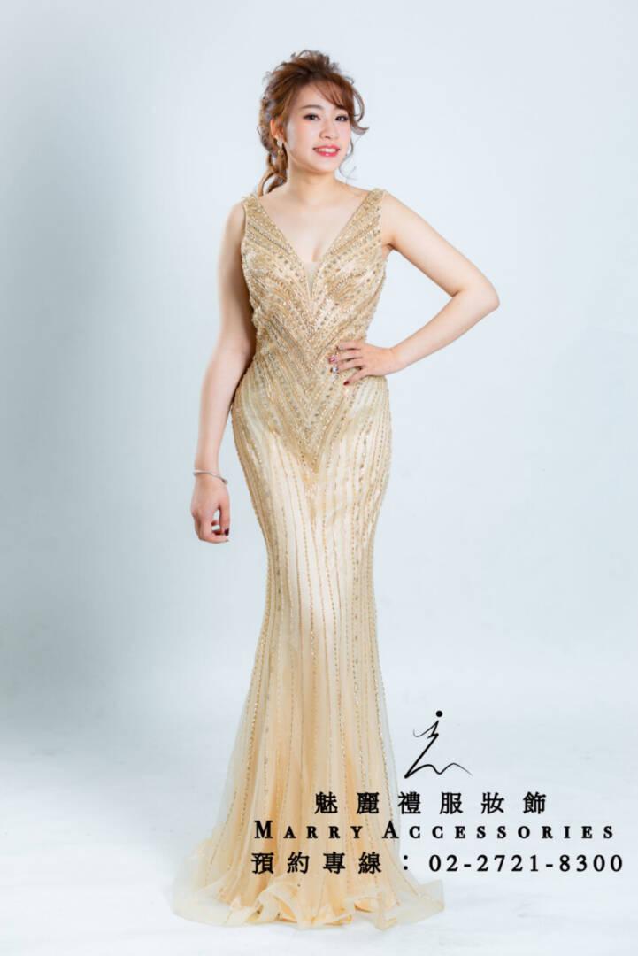 M99系列V領金色魚尾貴氣好身材禮服-媽媽禮服-晚宴禮服-新娘晚禮服