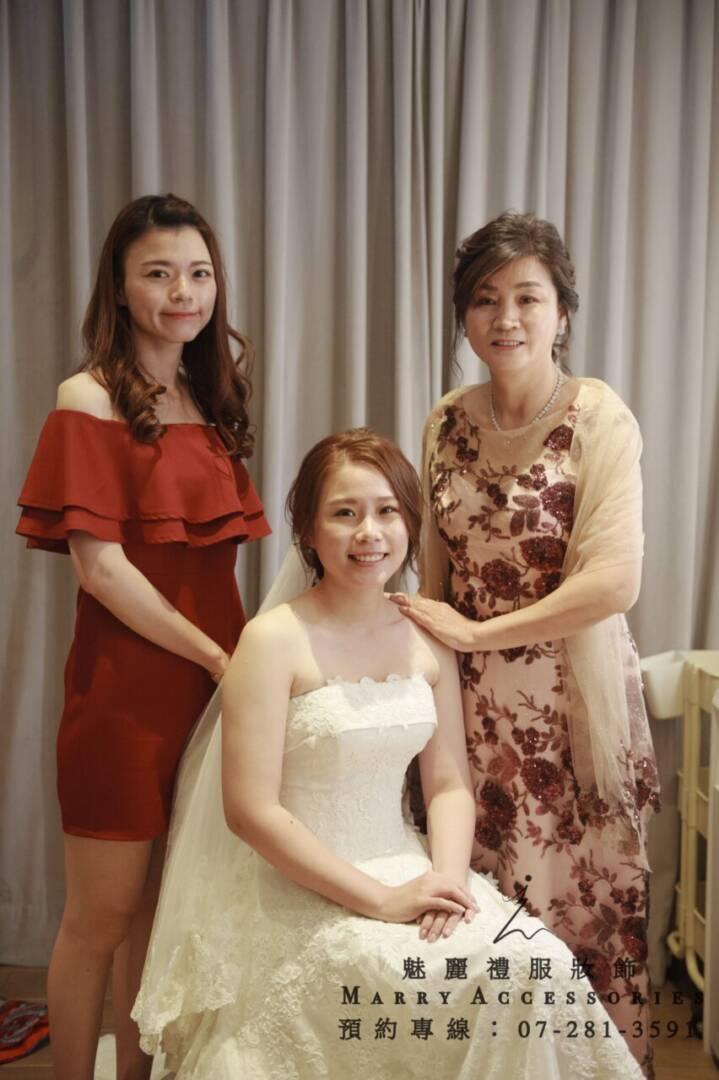 KO-0185系列杜拜紗立體紅花亮片刺繡氣質媽媽禮服-晚宴禮服-新娘晚禮服